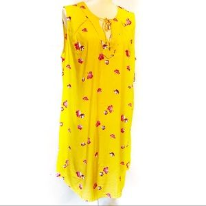 Old Navy V-Neck Yellow Floral Shift Dress